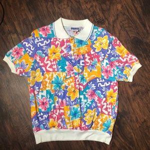 Vintage 90s Cape cod Floral Print shirt size large